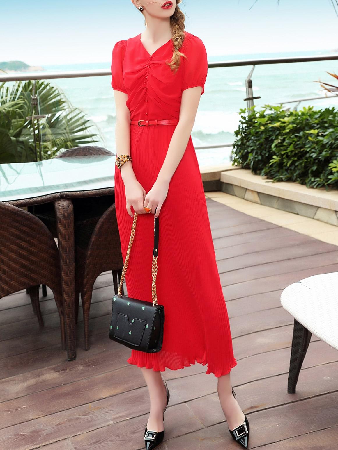Фото V Neck Flounce Pleated Dress. Купить с доставкой
