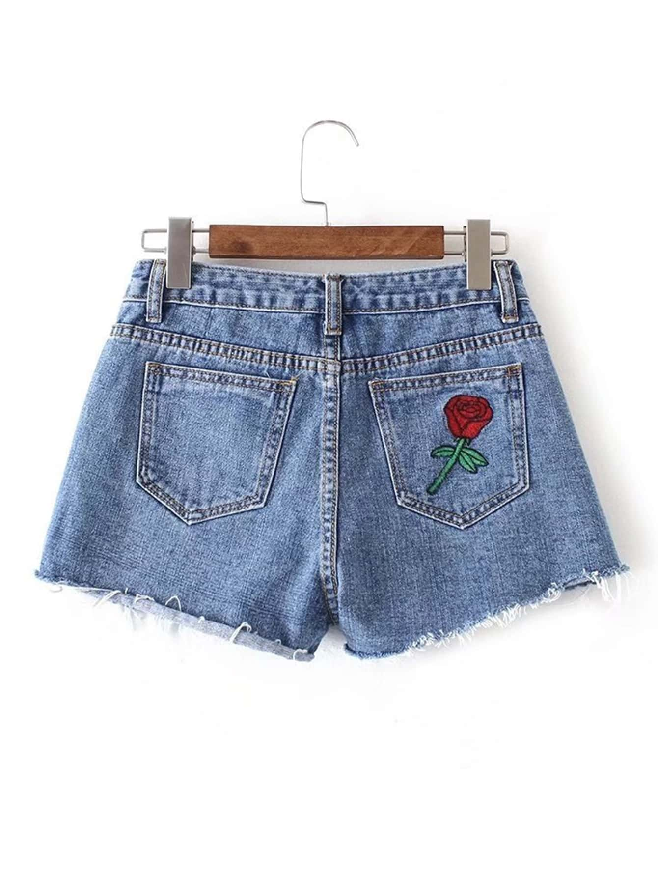Фото Raw Hem Flower Embroidery Denim Shorts. Купить с доставкой
