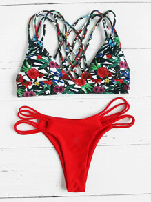 In bikini settembre con fiore della stampa con la parte posteriore latticed mix and match