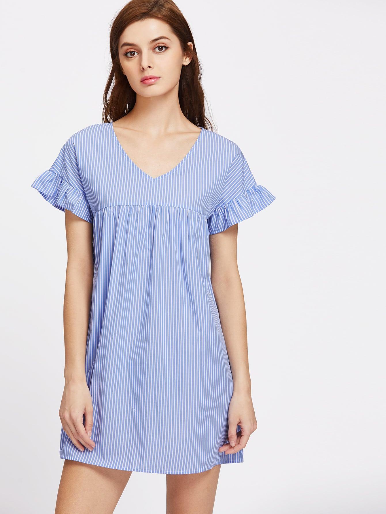 Фото V Neck Ruffle Sleeve Striped Smock Dress. Купить с доставкой