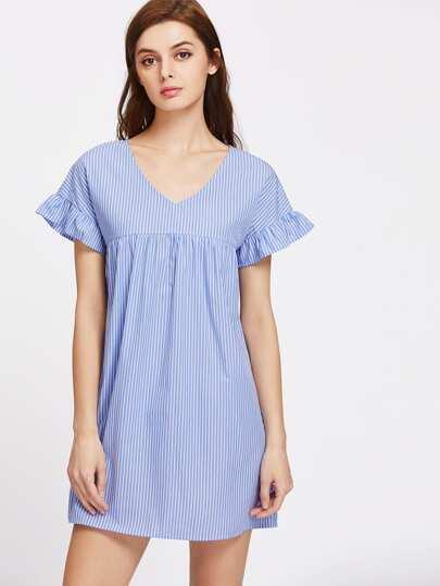 V Neck Ruffle Sleeve Striped Smock Dress