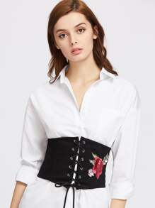 Brodé Rose Patch Lace Up Denim Corset
