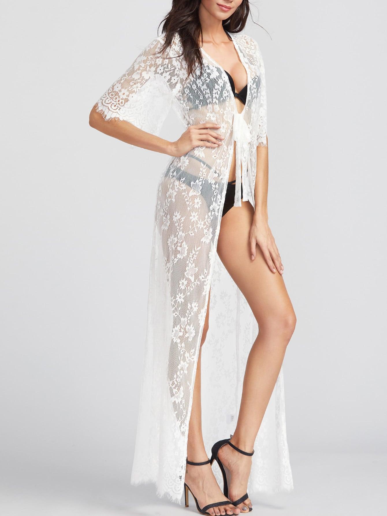 Фото Tie Front Maxi Floral Lace Kimono. Купить с доставкой