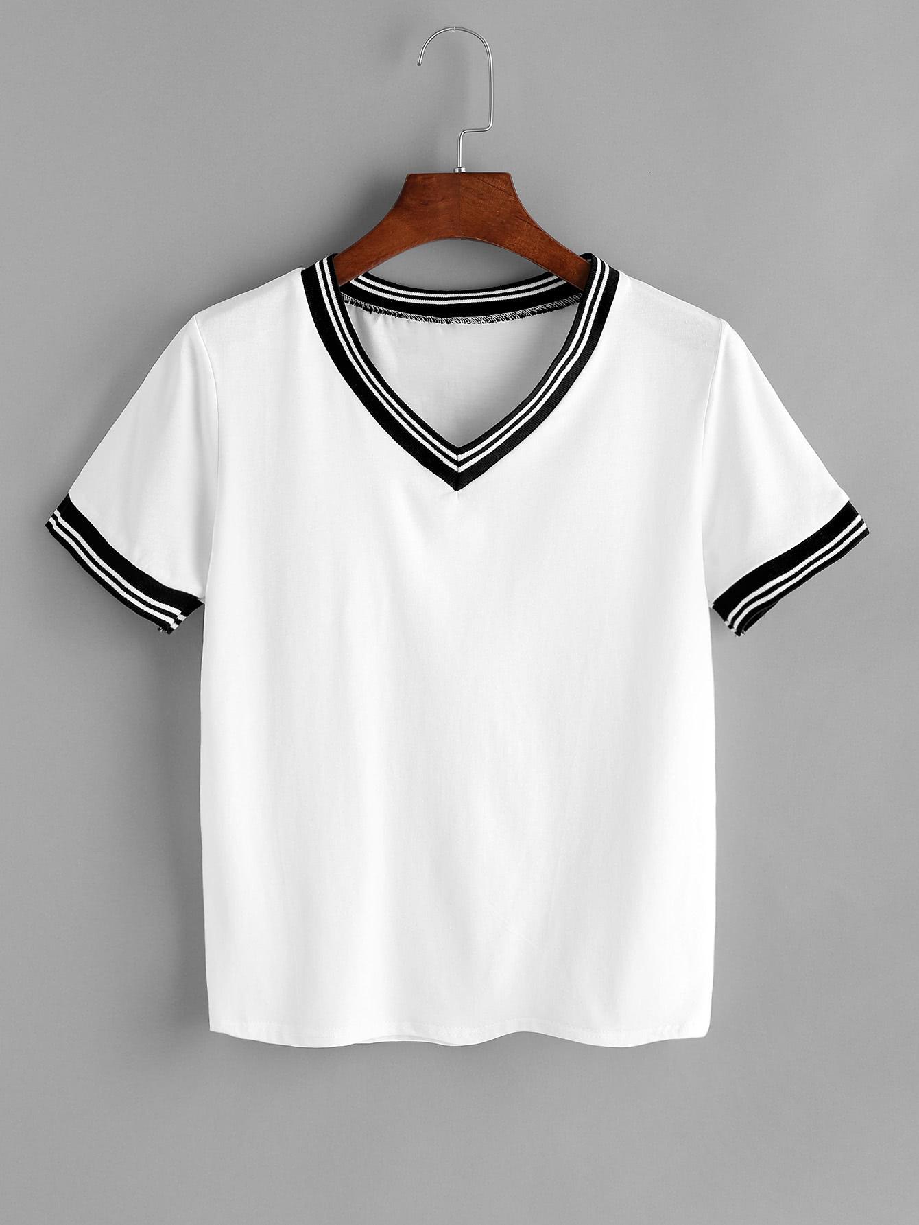 Купить Белый Контраст Полосатый Триммировать V Шея футболку, null, SheIn