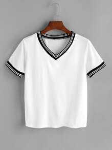 v Neckline Striped Trim Tee