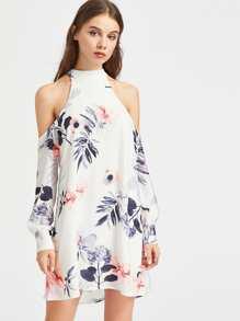 Floral Print Halter Open Shoulder Self Tie Back Dress