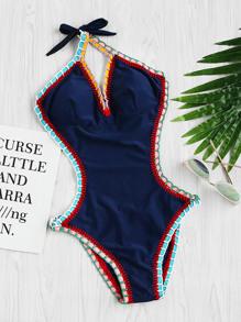 Halterneck Crochet Trim Monokini
