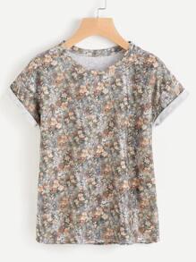 Camiseta de doblez con estampado de calicó
