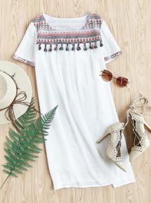 Tassel Trim Embroidered Jacquard Yoke Crinkle Dress