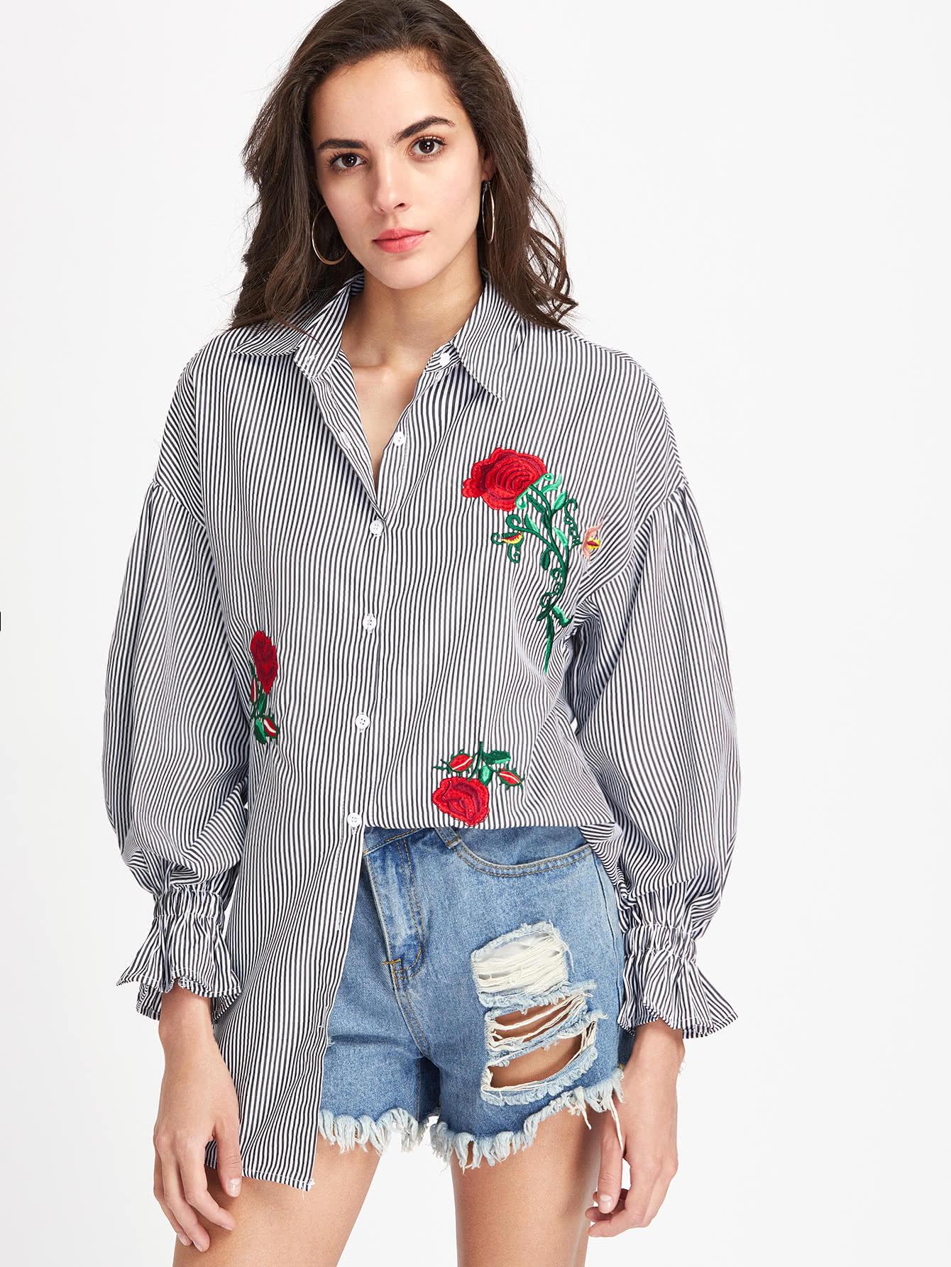 Фото Flower Embroidery Vertical Striped Shirt Dress. Купить с доставкой
