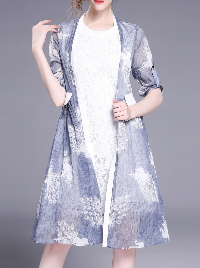Фото Two-pieces Lace Print Dress. Купить с доставкой