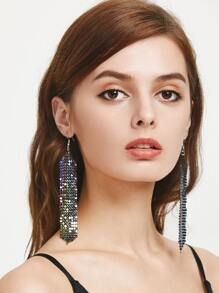 Metallic Sequin Statement Drop Earrings