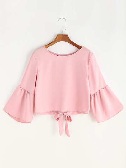 Fluted Sleeve Bow Tie Overlap Back Blouse