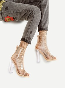 Peep Toe Clear Chunky Chaussures à talons