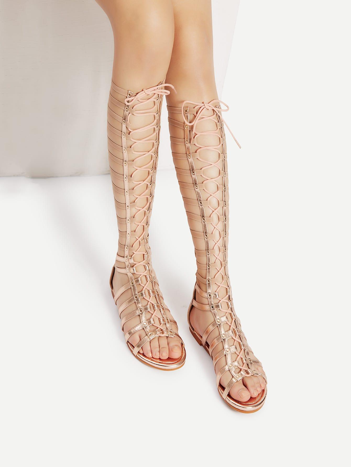 Studded Lace Up Gladiator Sandals ROSEGOLD mmcsandal-candice57m-rosegold