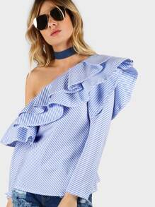 One Shoulder Ruffle Stripe Top BLUE WHITE