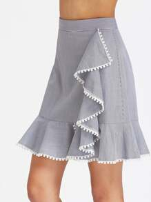Dot Crochet Trim Striped Asymmetric Ruffle Skirt