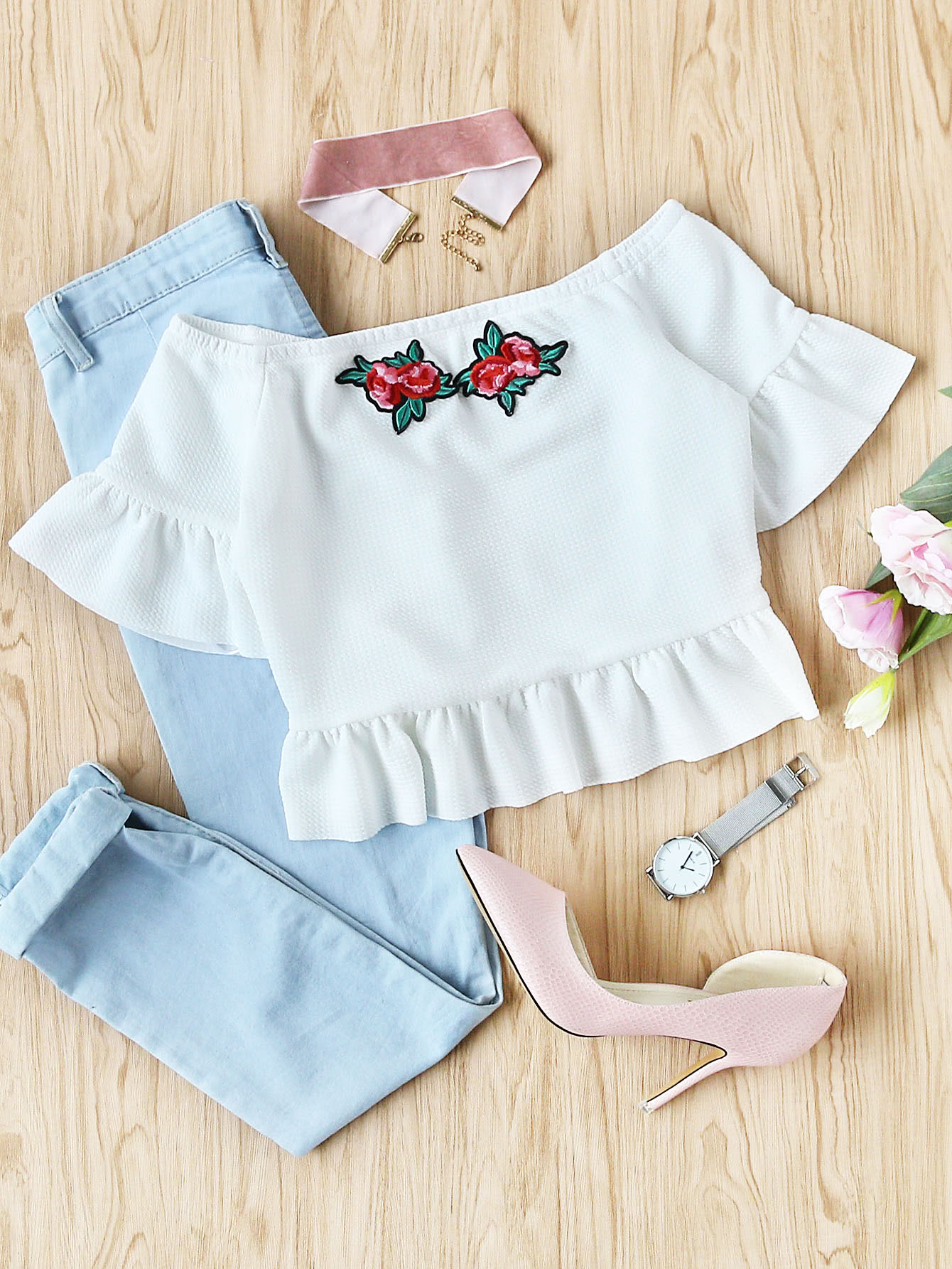 Embroidered Rose Applique Textured Bardot Top embroidered rose applique side split belt dress
