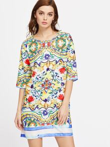 Elbow Sleeve Flower Print Shift Dress
