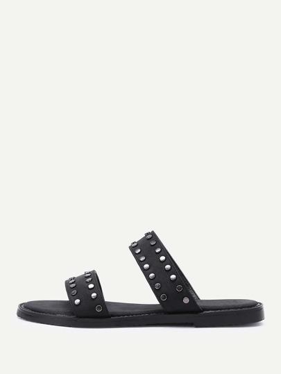 Open Toe PU Studded Slippers