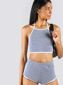 Halter Crop & Dolphin Shorts Set SLATE