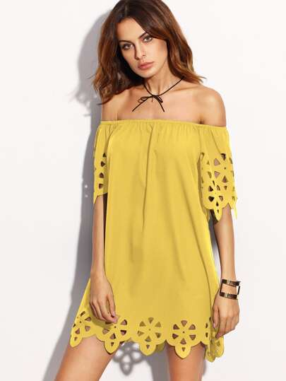 Laser Cut Scalloped Bardot Dress