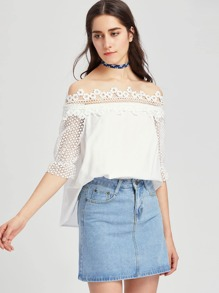 Crochet Bardot Neck And Sleeve Top