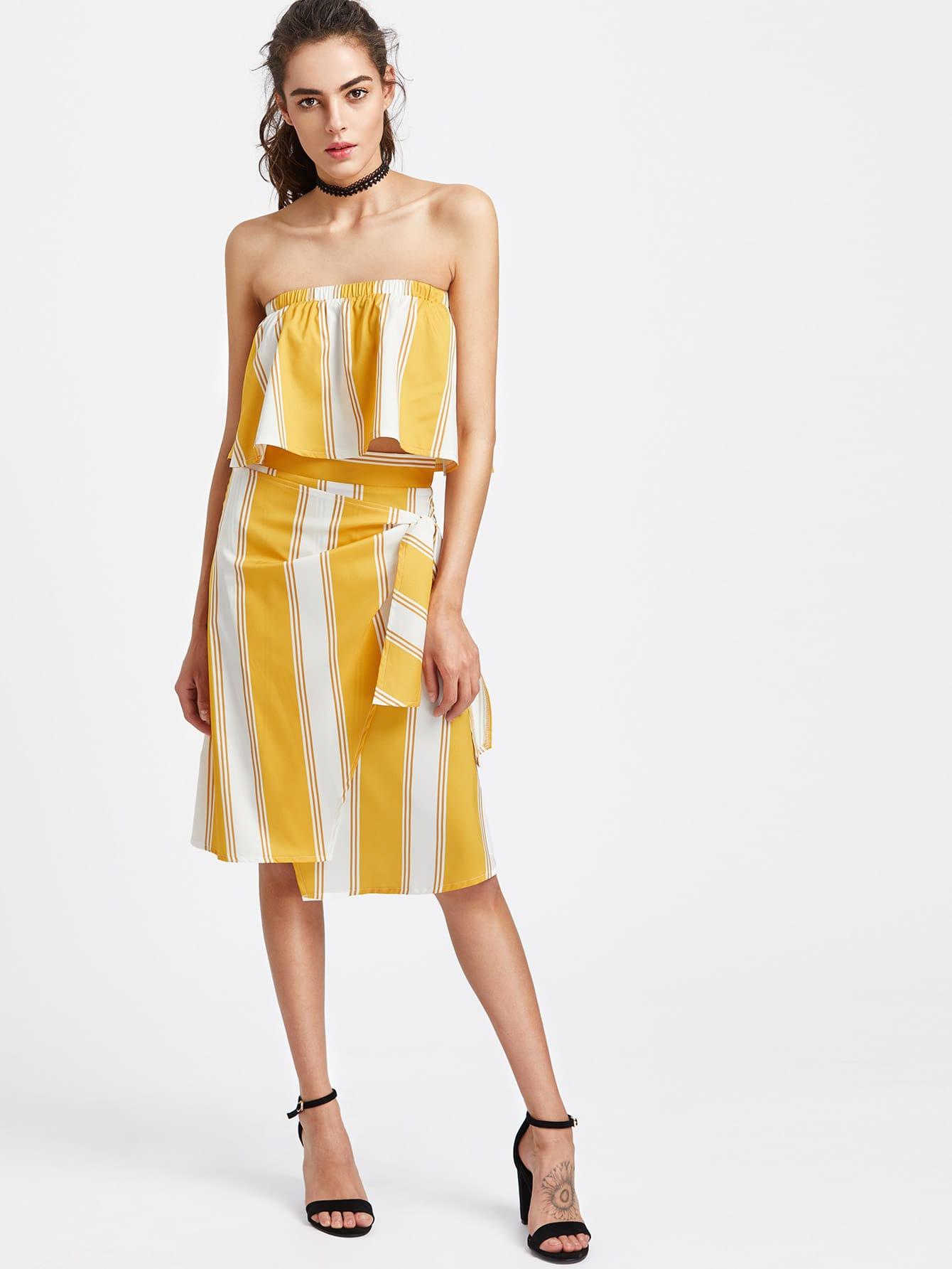 Фото Striped Bandeau Top With Side Knot Skirt. Купить с доставкой