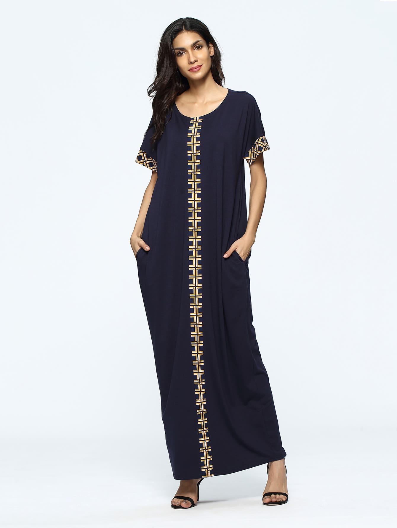 Geometric Print Full Length Dress