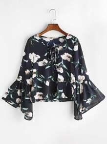 Blusa floral con cuello en V y cordones de manga acampanada - marino