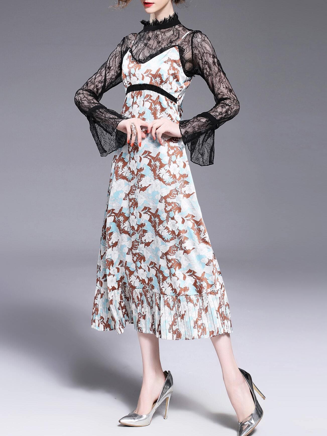 Фото Spaghetti Strap Pleated Print Lace Shirt Two-pieces Dress. Купить с доставкой