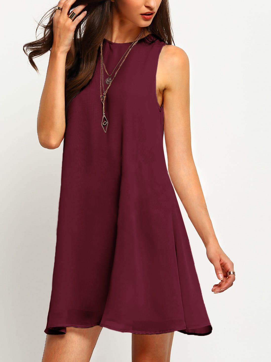 Фото Buttoned Keyhole Back Flowy Dress. Купить с доставкой