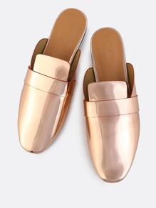 Backless Metallic Loafers ROSE GOLD