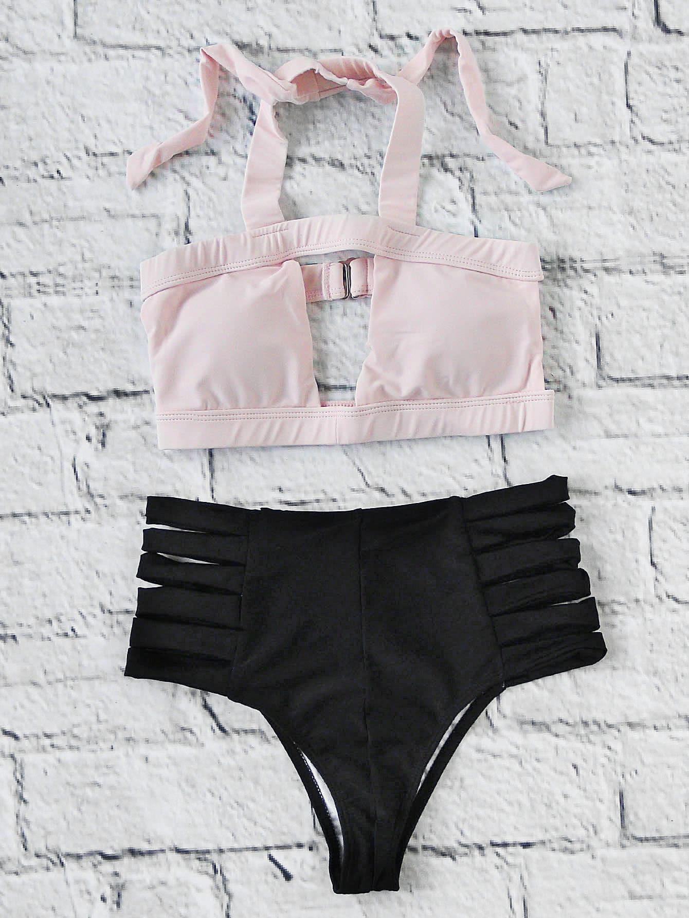 Two Tone Ladder Cutout High Waist Bikini Set swimwear170411307