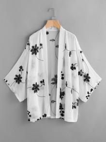 Kimono en tulle à broder