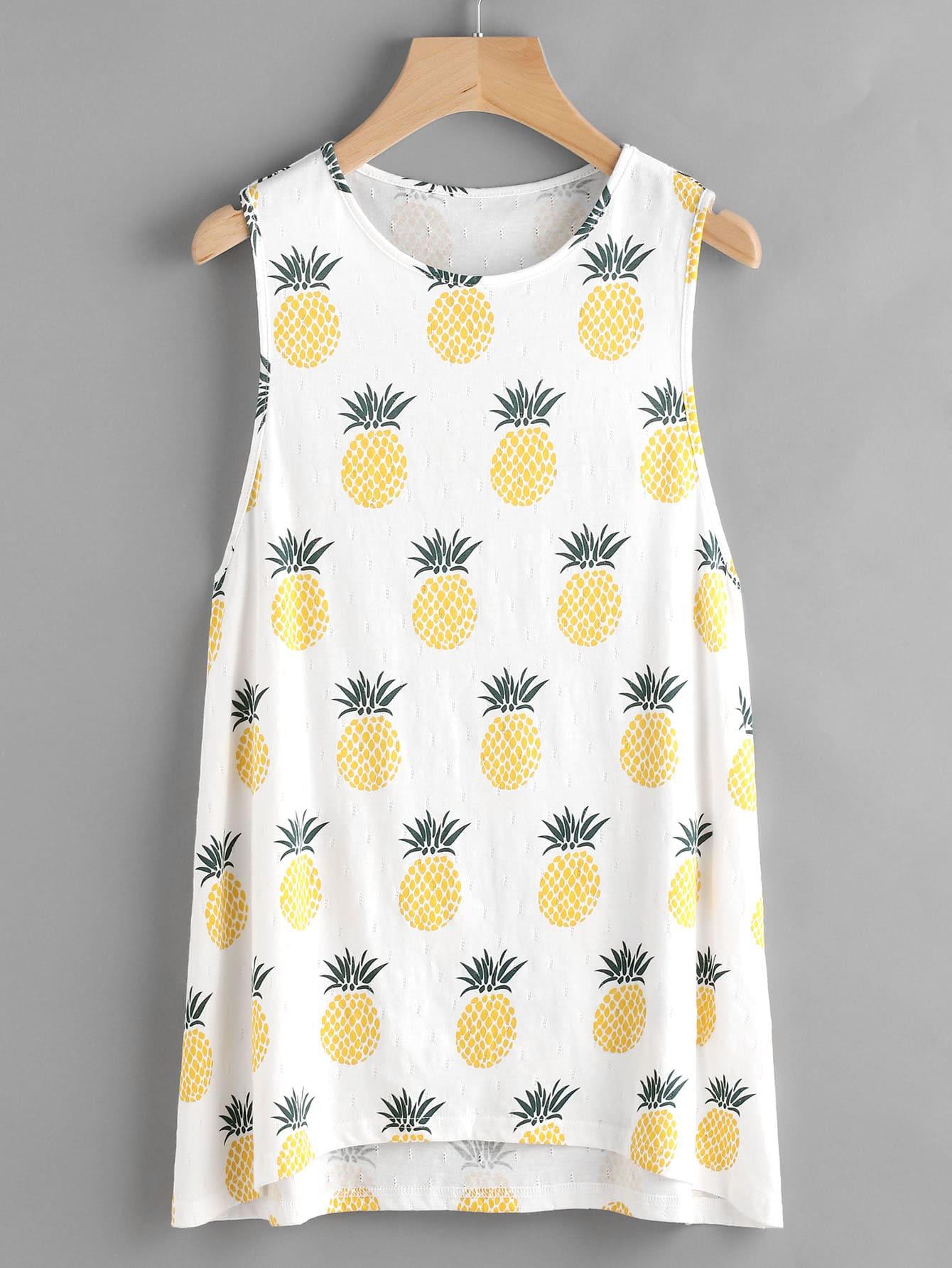 Фото Low Side Allover Pineapple Print Long Tank Top. Купить с доставкой