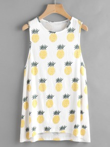 Low Side Allover Pineapple Print Long Tank Top