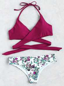 Floral Halfter Wrap Knotted Back Bikini Set