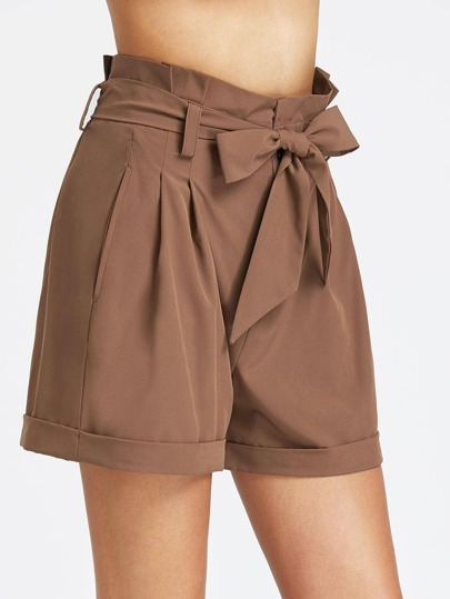 Pleated Waist Self Belted Cuffed Hem Tailored Shorts