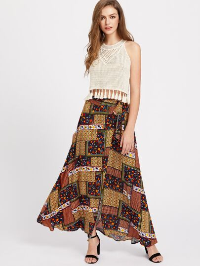 Patchwork Print Maxi Wrap Skirt