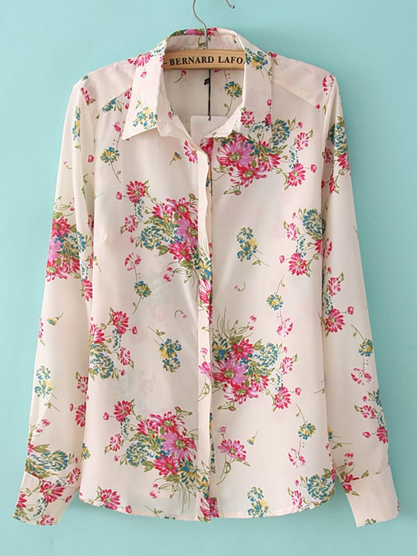 Фото Hidden Button Floral Blouse. Купить с доставкой