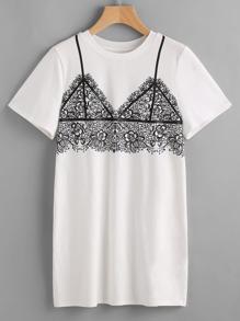 Bedrucktes Kleid mit Spitzen-BH - weiß