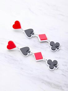 Color Block Poker Symbol Design Drop Earrings