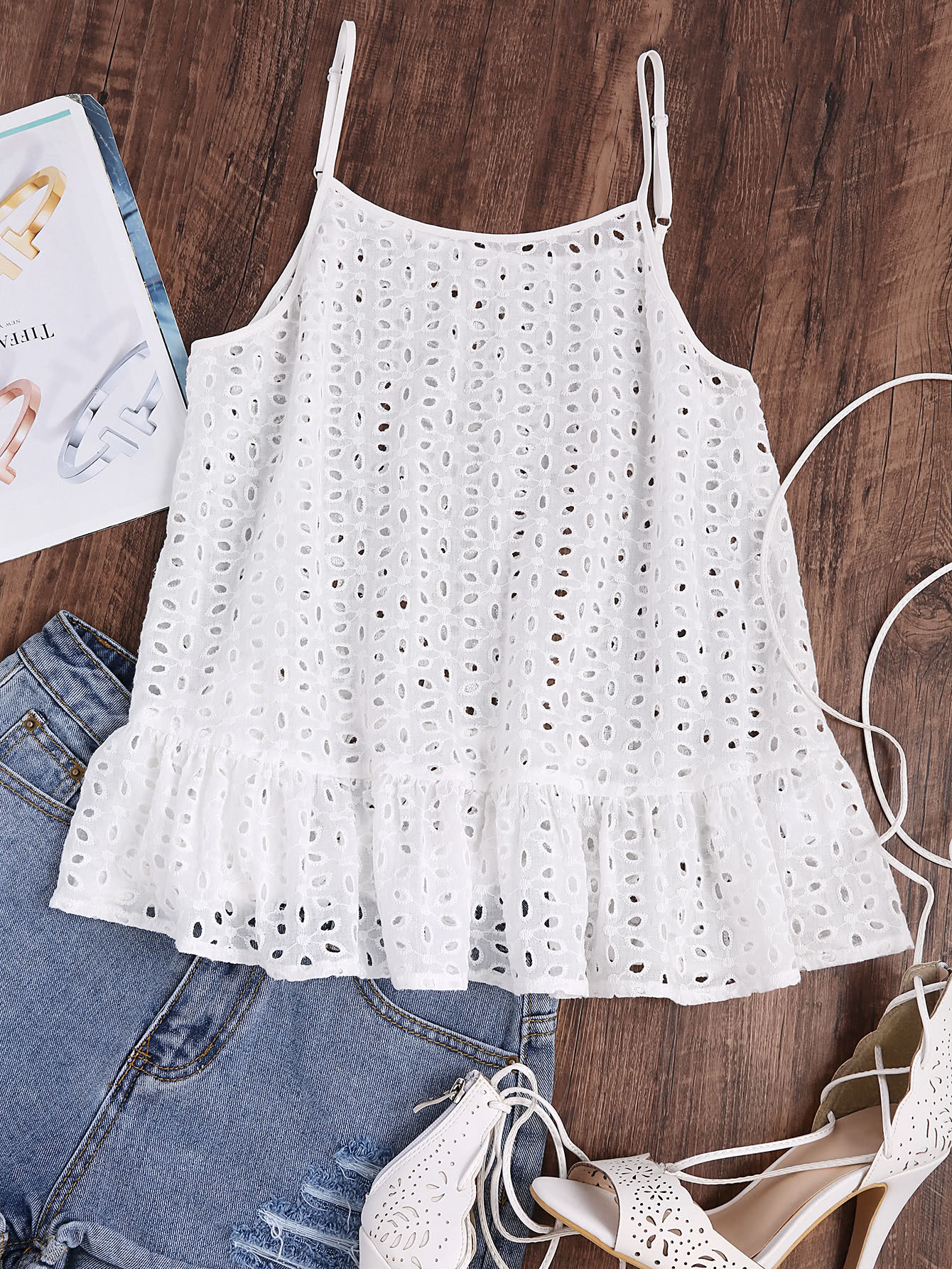 Ruffle Hem Eyelet Embroidered Cami Top