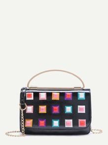 Studded Design Flap Crossbody Chain Bag