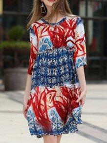 Flounce Pleated Print Dress