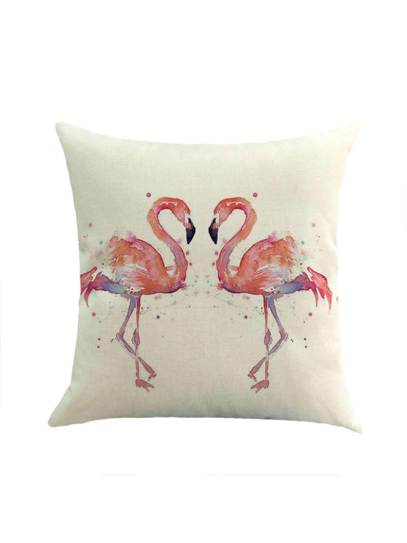 Фото Watercolor Flamingo Print Pillowcase Cover. Купить с доставкой