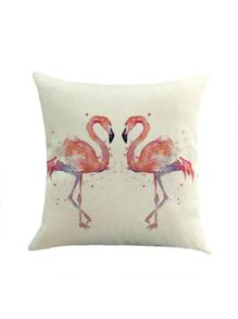 Funda de almohada con estampado de flamingo de acuarela
