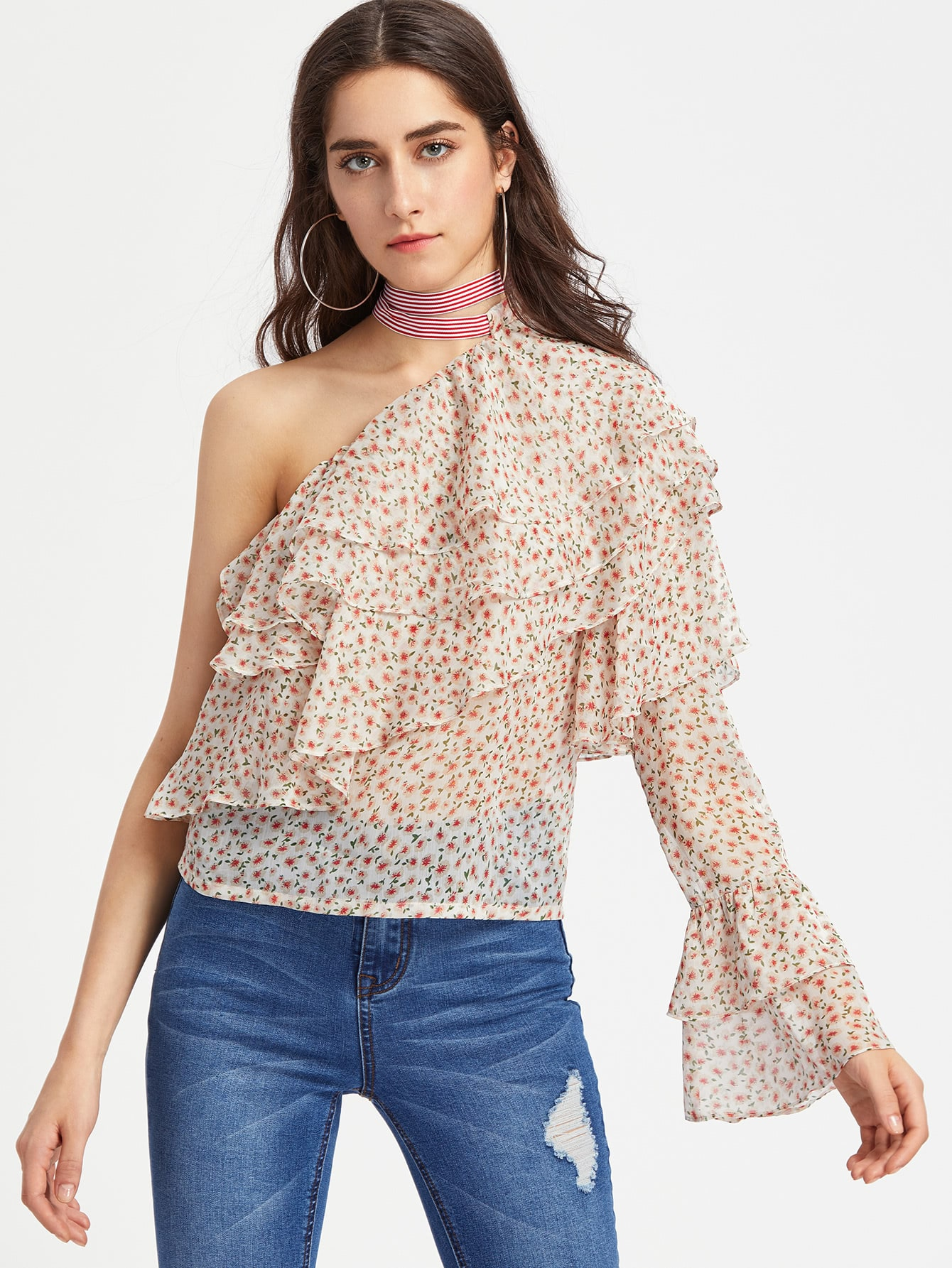 Oblique Shoulder Layered Frill Ditsy Top pearl detail layered frill sleeve top