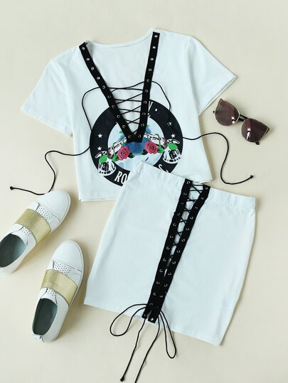 Eyelet Lace Up Crop Tee With Skirt pictures